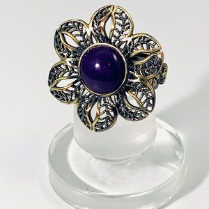 AMY KAHN RUSSELL BRONZE RING PURPLE STONE SZ 9.75